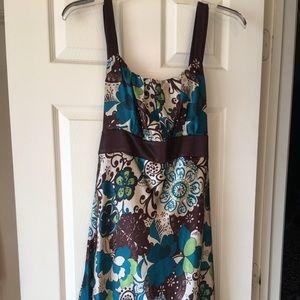 Printed floral satin sleeveless dress